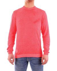 Blauer 21sblum01308-005991 pullover girocollo con cuciture a vista in cotone crepe - Rosa