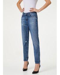 Liu Jo Jeans bottom up vita media vestibilita boy con applicazione cuore sulla tasca 98%co 2%ea - Bleu