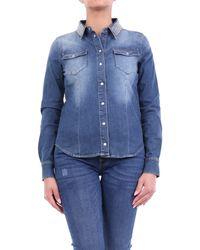 MY TWIN Twinset Camisa vaquera en jeans con aplicaciones - Azul