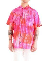 Patrizia Pepe 5c0305/a4k0 camicia over-size a manica corta con stampa all over - Rosa