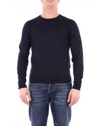 Heritage Suéter de cuello redondo azul noche con manga larga prendas de punto de cuello redondo