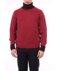 Drumohr Pull à col roulé en laine vierge bicolore - Rouge