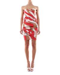 Elisabetta Franchi Abito smanicato in seta scollo a cuore chiusura con zip su retro taglio corto vestibilità aderente 100%seta - Arancione