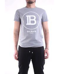 Balmain Camiseta de con mangas cortas en - Gris