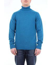 Paolo Pecora Col roulé uni en laine vierge - Bleu