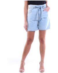 Manila Grace Bermuda en jean léger - Bleu