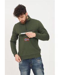 Napapijri Felpa uomo verde con mezza zip e tasca frontale