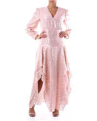 Stella McCartney - Abito lungo color rosa e oro - Lyst