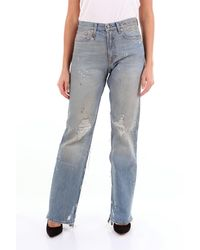 R13 Jeans transparentes boyfriend con cinco bolsillos - Azul