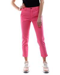40weft Pantalone modello chino realizzato in morbido cotone stretch, taglio cropped - Rosa