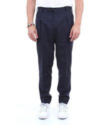 PT Torino Pantalon en laine à motifs - Bleu