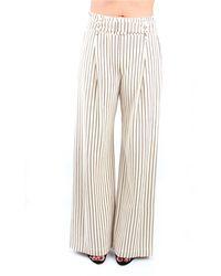 Erika Cavallini Semi Couture S0/p0sf07 pantalone ecrù a palazzo - Marrone
