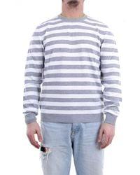 Heritage Pull à col rond blanc et gris - Multicolore