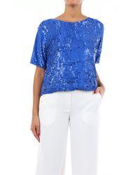 P.A.R.O.S.H. Jersey de cuello redondo con mangas cortas y lentejuelas azules