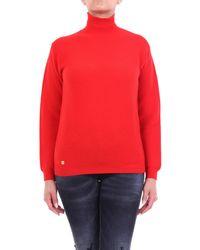 Manila Grace Jersey de cuello alto grace manila con mangas largas - Rojo