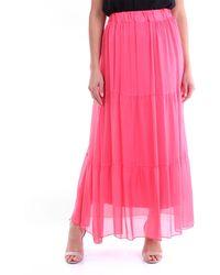 CROCHÈ Falda larga en color coral - Rosa