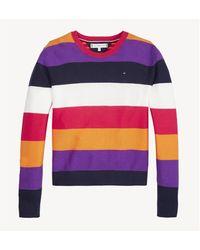 Tommy Hilfiger Maglia in cotone con motivo a fascie multicolor, 100% - Viola