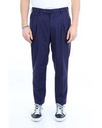 PT Torino Pt pantalones de color liso con vuelta - Azul