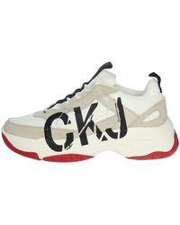 Calvin Klein Mizar suede bright wht/stone-14e - Blanco