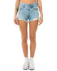 Levi's I primissimi pantaloncini in jeans, con l'iconico taglio diritto versione vita alta, chiusura bottoni, 100% cotone - Blu