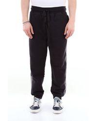 Maison Kitsuné Pantalon de jogging en coton maison kitsunè avec cordon serrage - Noir