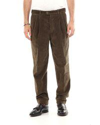 PT Torino Pantalón de canalé en color liso - Verde