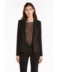 Patrizia Pepe 8s0285/a6f5 giacca in crêpe di raso opaco con volant sulla schiena - Negro