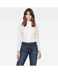 G-Star RAW Camicia donna realizzata popeline stretch soft hand-feel, slim fit, stretch, 98% cotone 2% elastane - Bianco