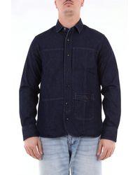 Tintoria Mattei 954 Camisa vaquera de manga larga - Azul