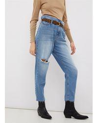 Liu Jo Jeans boyfriend in denim no-stretchvita alta effetto caramella con cintone elasticogamba morbidaorli unfinished 100%co - Bleu