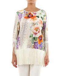 Clips Blusa con estampado de pinzas y manga larga - Multicolor