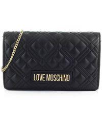 Love Moschino Borsa donna nero con tracolla oro in catena