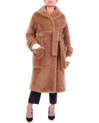 L'Autre Chose El abrigo largo autrecogido en color camel - Marrón
