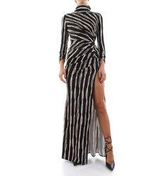 Elisabetta Franchi Abito red carpet stampa belt-logoscollo sulla schiena manica lunga 94%vi 6%ea - Nero