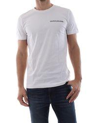 Calvin Klein T-shirt girocollo con piccola grafica logo, 100% cotone - Bianco