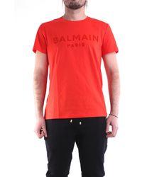Balmain Camiseta roja de manga corta - Rojo