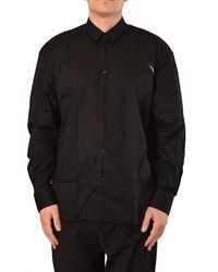 Les Hommes Camicia whit perforated sleeve - Nero