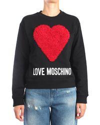 Love Moschino W6306 45 m4055 felpa con logo - Nero