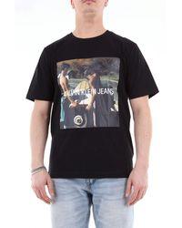 Calvin Klein Kurzarm-t-shirt mit aufdruck - Schwarz