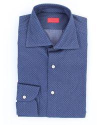 Isaia Blaues hemd mit mikromuster
