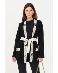 Elisabetta Franchi - Cardigan donna nero a vestaglia con logo - Lyst