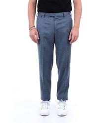 PT Torino Pantalon en laine uni - Bleu