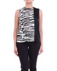 Calvin Klein Blusa sin mangas estampada negra y beige de - Negro