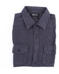 Replay Camicia in lino color antracite - Blu