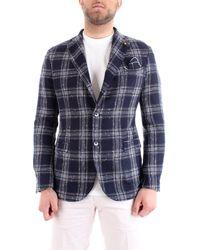 Roberto Pepe Ej4moj giacca principe di galles slim fit in misto lino - Blu