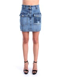 Elisabetta Franchi Gj14d11e2 minigonna in denim - Azul