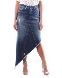 Maison Margiela Jupe en jean foncé au genou - Bleu