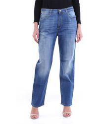 Manila Grace Jeans bootcut a vita alta di colore blu