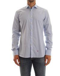 AT.P.CO - Camicia uomo slim fir, realizzata popeline di cotone, collo francese, 100%cotone - Lyst