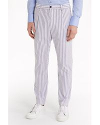 Patrizia Pepe 5p0472/a6r3 pantalone a righe in cotone stretch - Blanco